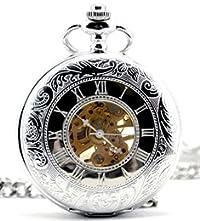 Infinite U Dual Time Display Hollow Skeleton Steel Hand Wind Mechanical Pocket Watch Silver
