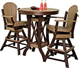 "Poly Patio Set Including Round Table (48"") and 4 Swivel Chairs in 18 Colors - Amish Made - BROWN"