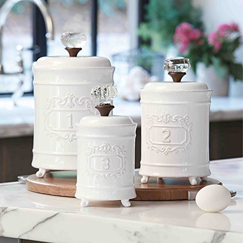 Mud Pie 4931002 Kitchen Canister (Set of 3), White 0