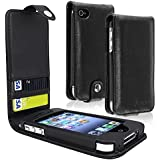 eForCity Leather Case with Card Holder for Apple iPhone 4/4S - Retail Packaging - Black