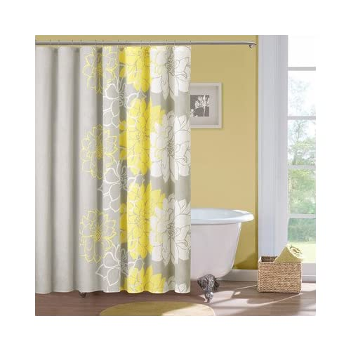 lola cotton shower curtain color gray yellow shower curtains