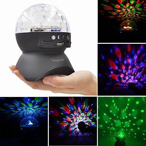 Erligpowht portatili Fase luci LED con Wireless Slot Bluetooth Speaker Mini Card rotante lampade Effetto Magico Disco Ball - Luminoso Perline Blu