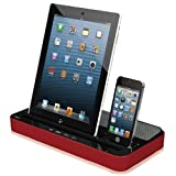 Digi4u® NEW IMPROVED DESIGN with one 8 Pin Adapters RED Docking Station Charger Speaker with Dual Adapter for iPad 2 3 4 Mini Air, iPhone 5S 5 4S, iPod, Samsung Galaxy and HTC ALSO COMPATIBLE WITH NEW IPHONE 6 - (March, 2014)