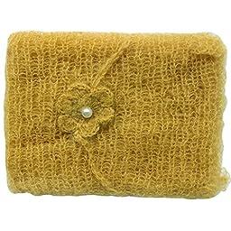 iEFiEL Newborn Baby Photography Prop Mohair Crochet Knit Wrap Blanket with Flower Headdress Headband (Mustard)