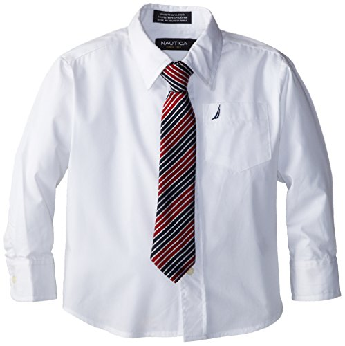 Nautica Dress Up Little Boys' Long Sleeve Solid Shirt, White, 7 front-1019980