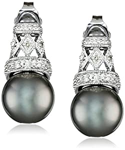 10k White Gold Diamond and Black Tahitian Cultured Pearl Drop Earrings (0.06 Cttw, G-H Color, I2-I3 Clarity)