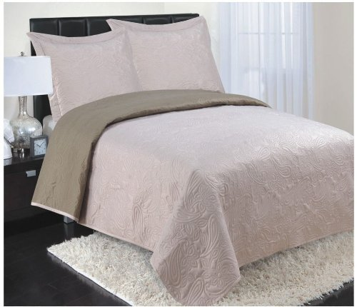 Rt Designers Collection 3-Piece Reversible Coverlet, Queen, Camel back-1074745