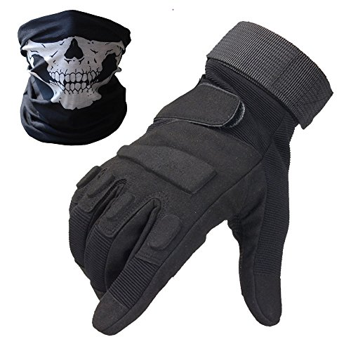 Tactical Gloves - Men's Wear-resistant Military Airsoft Gloves for Sporting Shooting Paintball Hunting Riding Motorcycle - Bundled With Skull Face Tube Mask(Blackeagle Fullfinger Black,L) (Motorcycle Carbon Fiber Mask compare prices)
