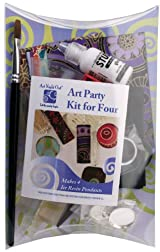 Art Night Out Party Kit for 4 People Makes 4 Circle Resin Pendants in Silver Plate