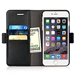 iPhone 6s Plus / 6 Plus Wallet Case, iXCC Detachable Folio Magnetic Cover Case [2 in 1] with Premium Leather and Credit Card Slots - Black