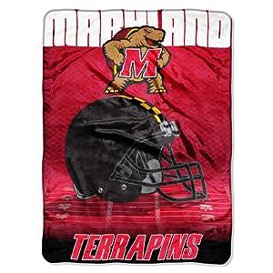 "NCAA Maryland Terrapins 60-Inch-by-80-Inch Micro Raschel Blanket, ""Overtime"" Design"
