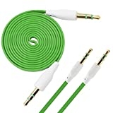 iTALKonline Samsung Galaxy S5 Active GREEN FLAT 3.5mm Gold Plated Jack to Jack Male AUX Auxiliary Stereo Jack Cable Lead Wire