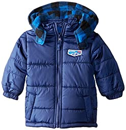 iXtreme Baby Boys\' Cire Puffer with Buffalo Plaid, Navy, 24 Months