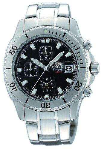 Orient Men's CTD0B001B 100m Alarm Chronograph with Magnified Lens over date Black Watch