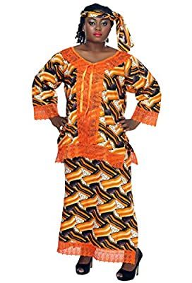 African Planet Women's Wax 3 Piece Suit Top Skirt and headwrap Ankara One Size