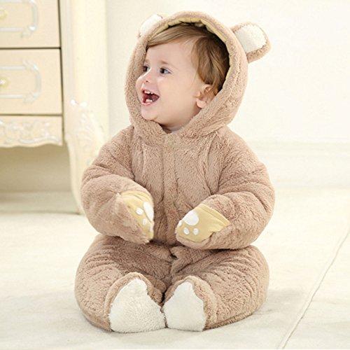 HappyCherry Baby Boys Girls Infant Cute Bear Winter Warm Outfits Snowsuit Romper