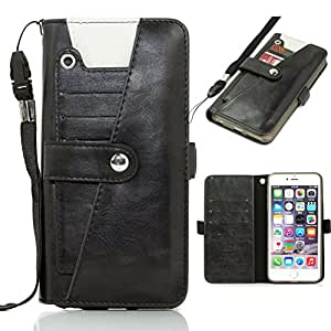 YCMCOVER iPhone 6 6S Leather PU Case Full Wallet Back Cover with Card Slots (black)