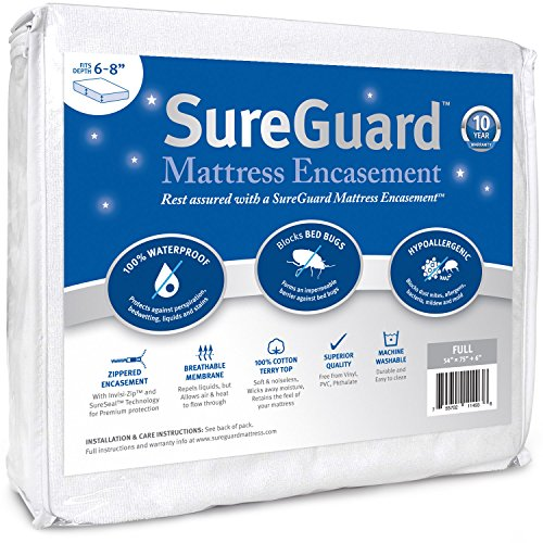 Full (6-8 in. Deep) SureGuard Mattress Encasement - 100% Waterproof, Bed Bug Proof, Hypoallergenic - Premium Zippered Six-Sided Cover - 10 Year Warranty (Low Profile Mattress Encasement compare prices)