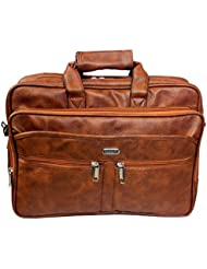 "Stylish 15.5"" Tan Colour Faux Leather Specious Laptop Sleeve Messenger Office Bag With Shoulder Strap"