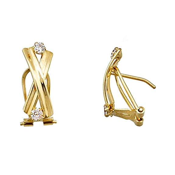 18k gold earrings cubic zirconia cross bands [AA5085]