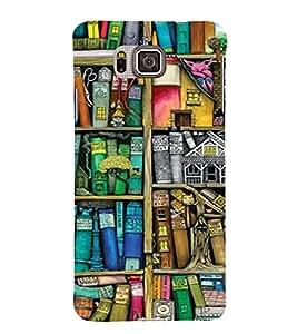 PrintVisa Book Shelf Pattern 3D Hard Polycarbonate Designer Back Case Cover for Samsung Galaxy Alpha