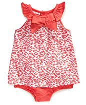 First Impressions Infant Girls Orange Sunsuit, Leopard Print, 24 Months
