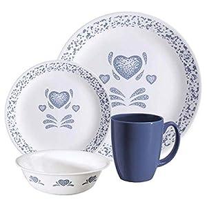 Amazon Livingware Blue Hearts 16 Piece Dinnerware Set