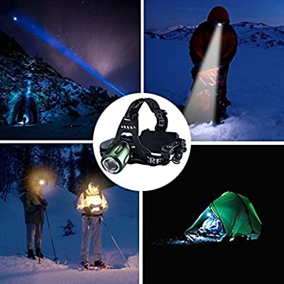 Canwelum Brightest Zoom CREE T6 LED Headlamp, Camping, Hunting or Fishing Rechargeable Head Lamp, Hiking LED Headlight (A Complete Set with 18650 Li-ion Batteries and Charger: Bigger Battery Power Capacity & Longer Run Time)