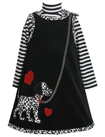Black White Dog on Leash Corduroy Jumper Dress BK3SX,Bonnie Jean Little Girls Girl Dress