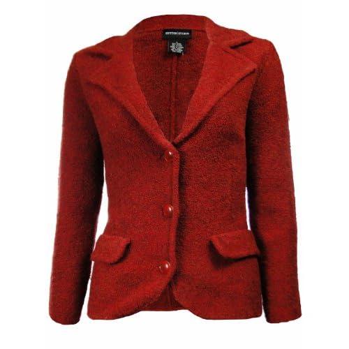 Sutton Studio Womens Wool Blend Sweater Blazer Red