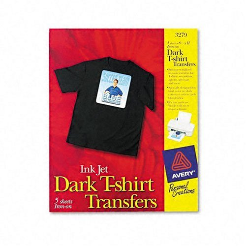Avery Personal Creations InkJet Iron-On Dark T-Shirt Transfers, White, Five Sheets per Pack 03279.