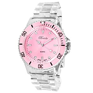 Breda Women's Large Dial Peace Sign Hour Hand Clean Plastic Band Watch White 1642-Pink