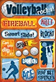 Volleyball Cardstock Stickers 5-1/2-Inch by 9-Inch, Volleyball Rocks