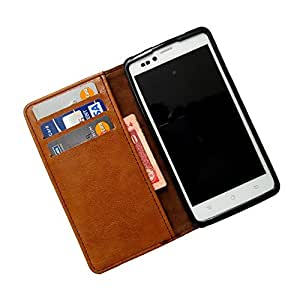i-KitPit PU Leather Wallet Flip Case For Karbonn S1 Titanium (BROWN)