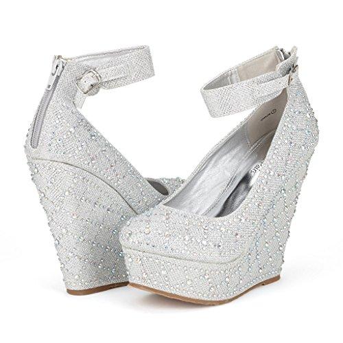 a4ddb68f89eb66 Dream Pairs CHAOS Women s Glitter High Heel Rhinestones Ankle Cuff Round Toe  Platform Wedge Pump Shoes