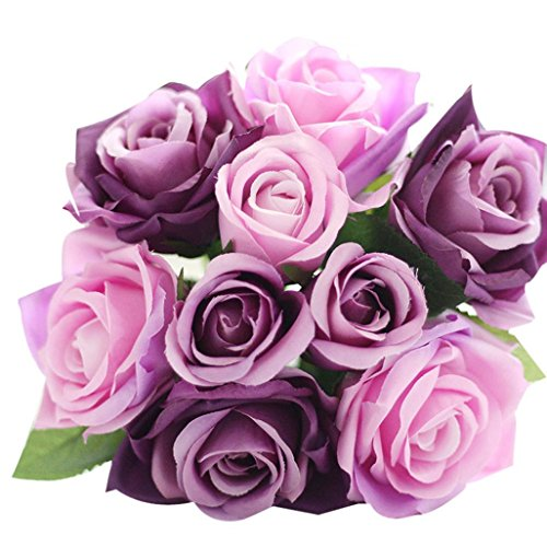 Wensltd 9pcs Artificial Silk Real Touch Rose Flowers For wedding And Home Design Bouquet (purple)