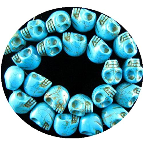 "DUMAN 12mm hand carved blue turquoise skull beads 16"" strand"