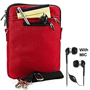 """Red Mighty Nylon Jacket Slim Compact Protective Sleeve Shoulder Bag Case with accessories compartment for Pandigital SuperNova - 8"""" Media Tablet + Black Clear High Quality HD Noise Filter Ear buds Earphones Headphones with a MIC ( 3.5mm Jack ) from Electr"""