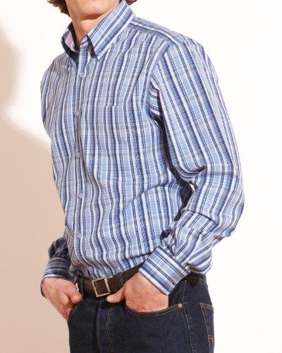 Savile Row Mens Blue Bold Check Button Down Casual Shirt Collar SizeMedium Single Cuff