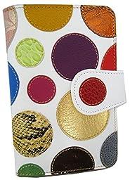 Luxury 100% Genuine Leather Wallet for Women, Handmade in Spain, Fantasy polka dot