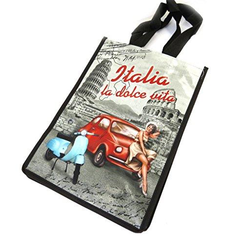 Retrò shopping bag 'Italia - La Dolce Vita'blu rosso nero (35x25x19 cm).