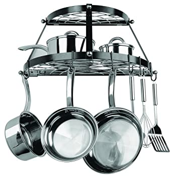 Range Kleen 2 Shelf Wall Mount Black Pot Rack