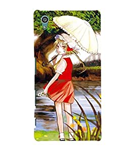 WELL DRESSED ANIMATED GIRL BY THE RIVER SIDE 3D Hard Polycarbonate Designer Back Case Cover for Sony Xperia Z5 :: Sony Xperia Z5 Dual (5.2 Inches)