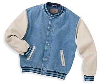 Port Authority J761 Denim and Twill Letterman Jacket - Light Blue/Khaki - Small