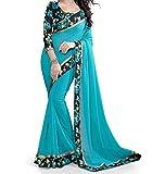SareeShop Womens Chiffon Saree (Flower-814_Firozi)