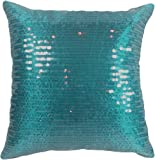 "Decorative Transparent Sequins Floral Throw Pillow COVER 18"" Mosaic Blue"