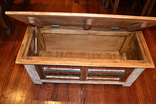 Crafters and Weavers Rustic Distressed Reclaimed Solid Wood Painted Trunk Coffee Table 4