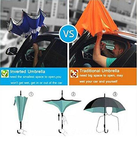 Arrowhunt Persönlichkeit Frei Hände Rückwärts Double Layer Regenschirme Stockschirme -