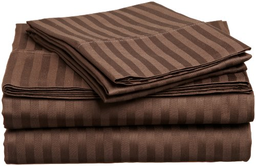 Impressions Genuine Egyptian Cotton 300 Thread Count King 4-Piece Sheet Set Stripe, Mocha back-911041