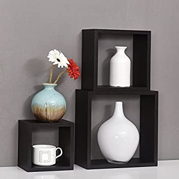 WELLAND Victorian Tri Wall Shelves Cube Displaying Shelf Set of 3,6 inch,8 inch and 10 inch, Espresso